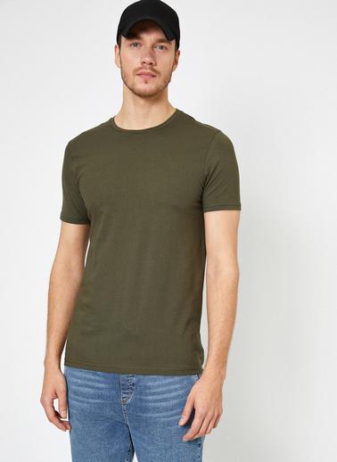 Koton Bisiklet Yaka Likrali Esnek Kumasli Süper Slim Fit T-Shirt Yeşil